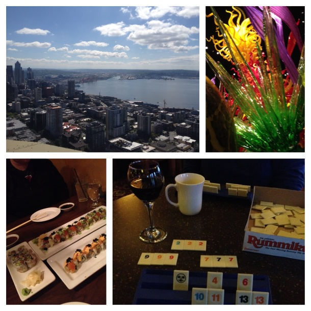 Seattle from the Space Needle, Chihuly blown glass, amazing sushi, and Rumikub